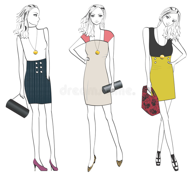 Fashionable woman in different poses. Woman posing to show off her different fashion and styles stock illustration