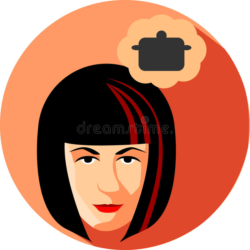Fashionable woman dreams about cooking. Flat Style.The girl brunette on a red background. Pan stock illustration