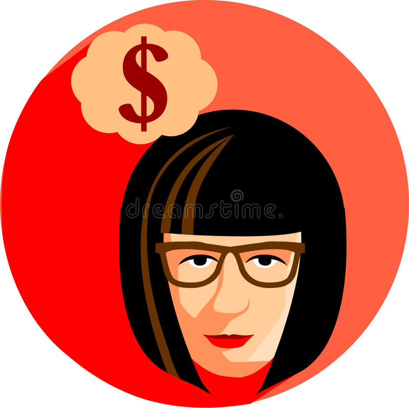 Fashionable woman with glasses is dreaming about the money. Flat royalty free illustration