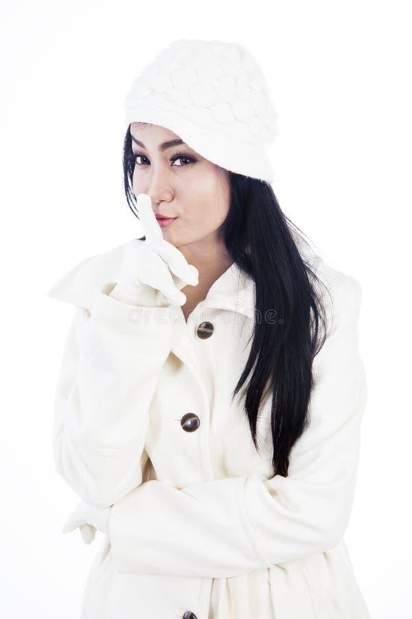 Fashionable woman keeps a secret stock photo
