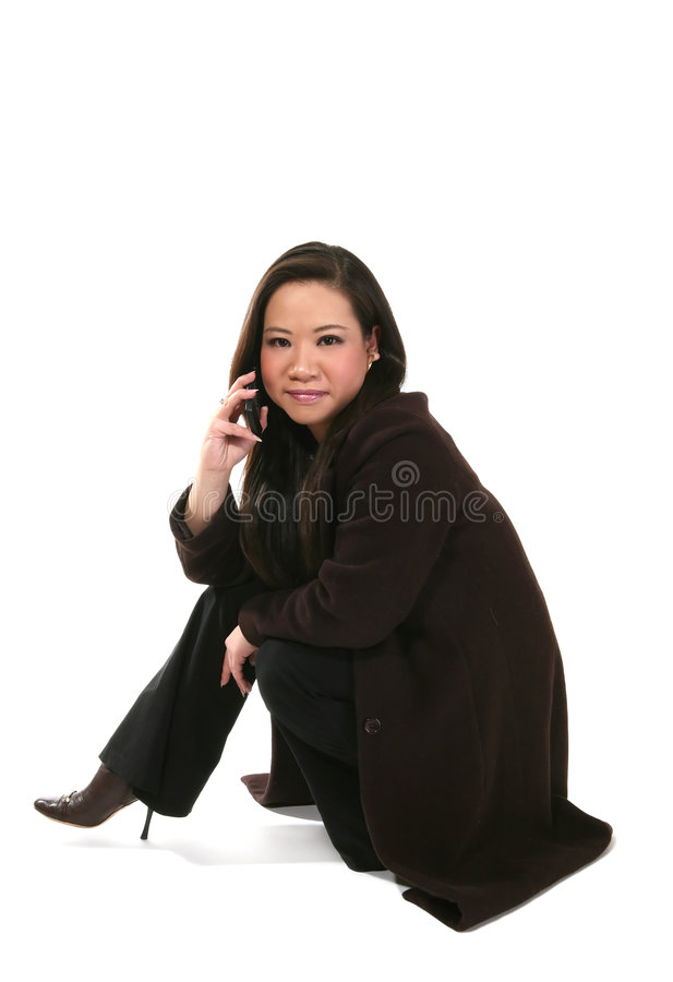 Fashionable woman with mobile stock images
