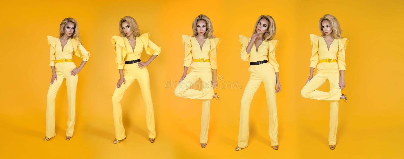 Fashionable woman in nice yellow jumpsuit, shoes and accessories. Fashion spring summer photo - Image. Fashionable woman model in nice yellow jumpsuit, shoes and royalty free stock photography