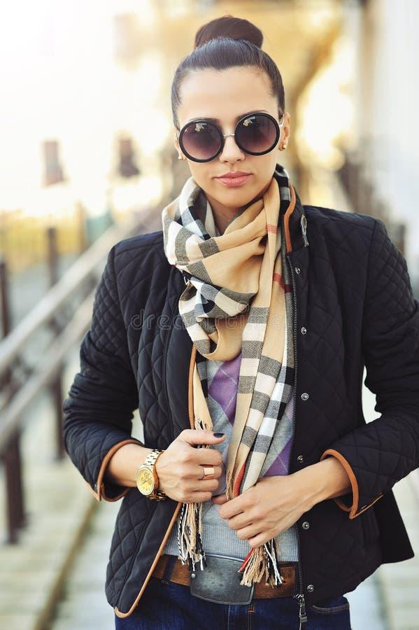 Fashionable woman outdoor portrait - closeup. Fashionable woman outdoor portrait - close up stock photo