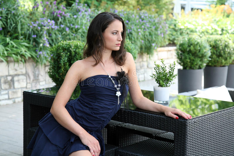 Download Fashionable woman on patio stock image. Image of attractive - 25979641