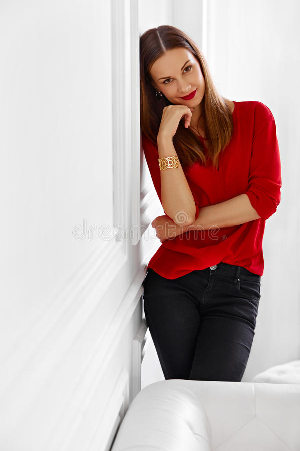 Fashionable Woman. Portrait Of Successful Office Business Lady. Looking Confident, Happy And Smiling. Wellbeing, Luxury Lifestyle stock image