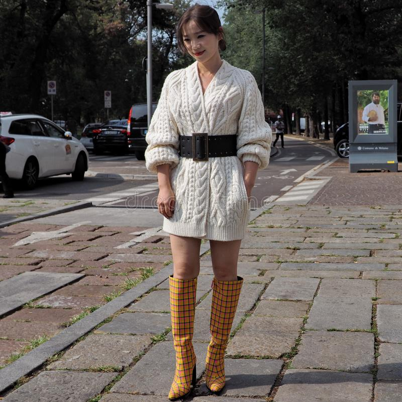 MILAN, Italy: 22 september 2018: Fashionable women in streetstyle outfit. Fashionable woman street style outfit before Philosophy di Lorenzo Serafini fashion stock images