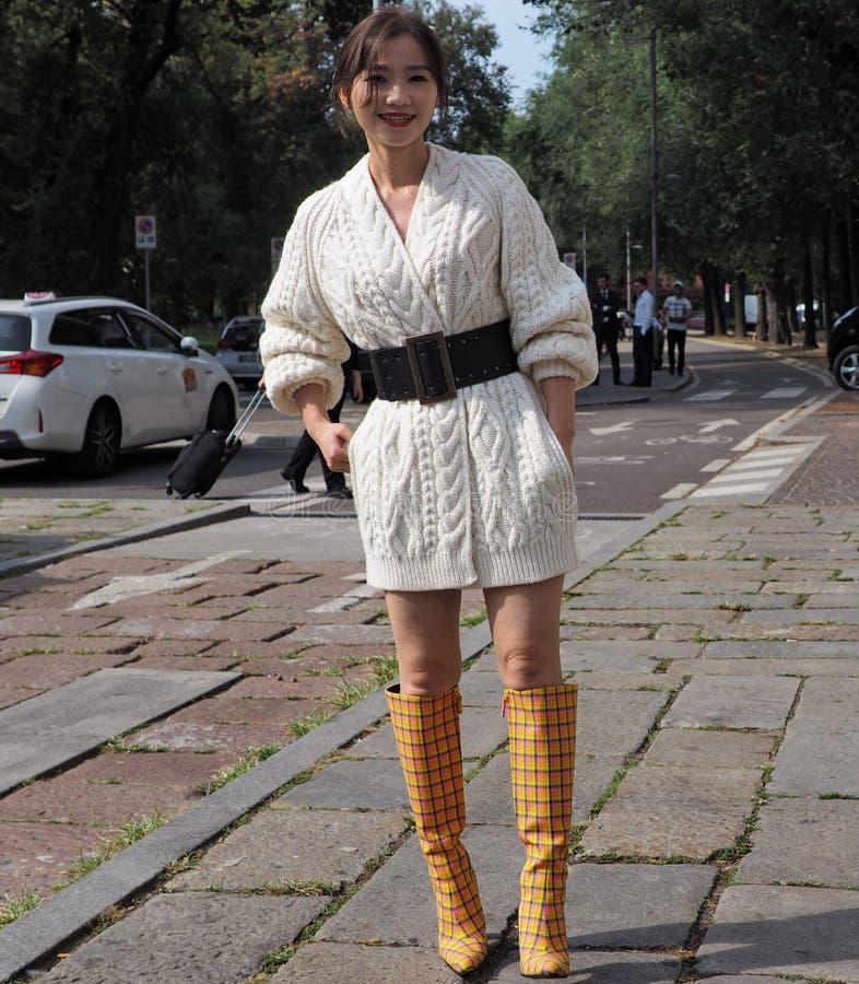 MILAN, Italy: 22 september 2018: Fashionable women in streetstyle outfit. Fashionable woman street style outfit before Philosophy di Lorenzo Serafini fashion stock image