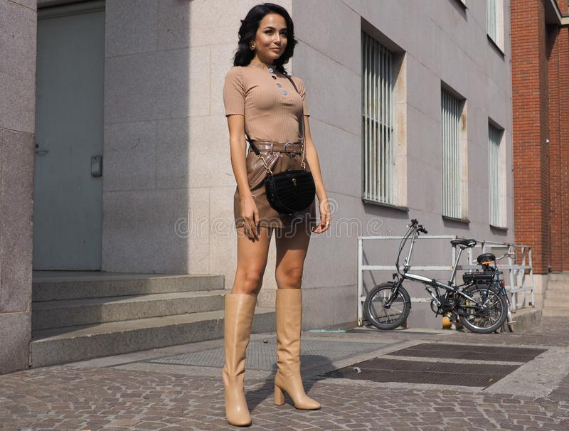 MILAN, Italy: 22 september 2018: Fashionable women in streetstyle outfit. Fashionable woman street style outfit before Philosophy di Lorenzo Serafini fashion royalty free stock photos