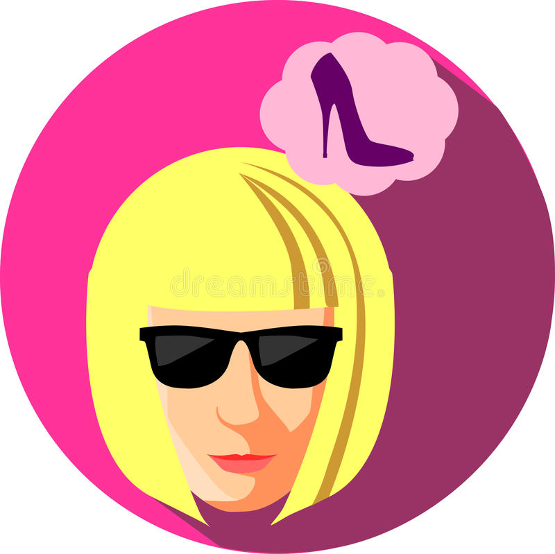 Fashionable woman in sunglasses dreaming about shoes. Flat Style stock illustration