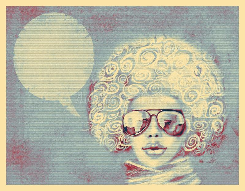 Fashionable woman with sunglasses and scarf. Shabby chic style portrait. Illustration of woman with the speech bubble. royalty free stock photo