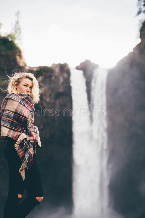 Fashionable Woman By Waterfall Free Public Domain Cc0 Image