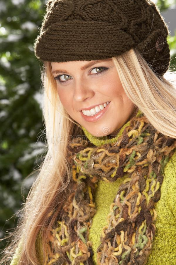 Fashionable Woman Wearing Knitwear In Studio stock photos