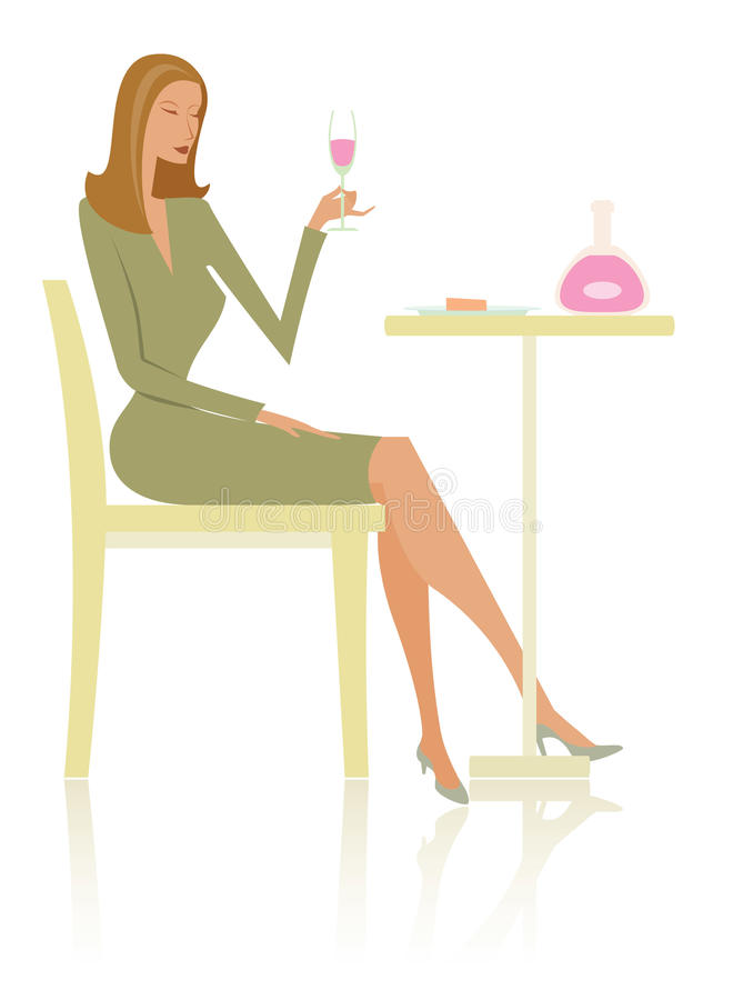 Fashionable woman and wine stock image