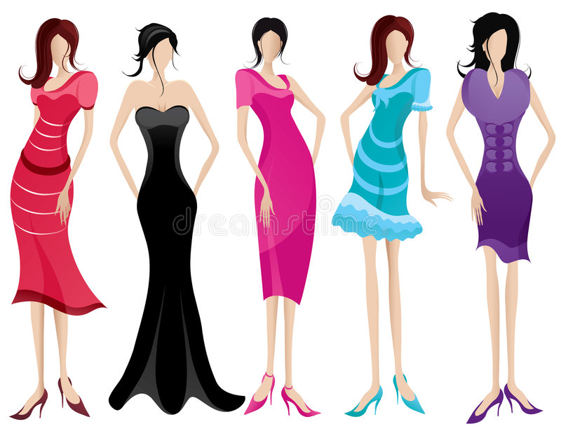 Fashionable women. Graphic of five fashionable women stock illustration