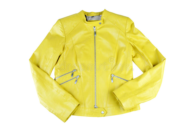 Fashionable women leather jacket, stylish bright color. stock photos