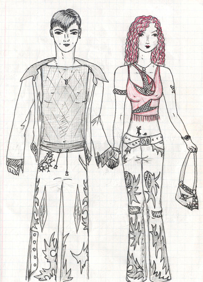 Fashionable women and man, sketch