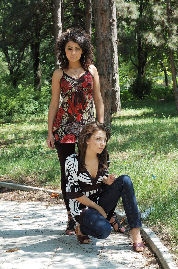 Download Fashionable women in park stock image. Image of looks - 5717633