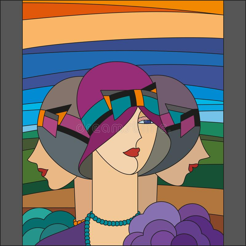 Fashionable women pattern. Three flappers. Art deco stained glass pattern. vector illustration
