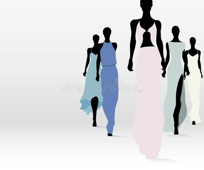 Fashionable women on runway. Group of fashion women walking on the runway royalty free illustration