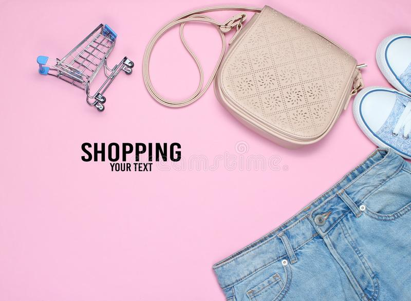 Fashionable women& x27;s clothing, shoes and accessories stock photo