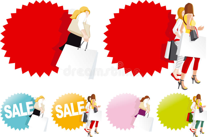 Download Fashionable Women With Shopping Bags Stock Vector - Illustration of sale, fashionable: 33744932