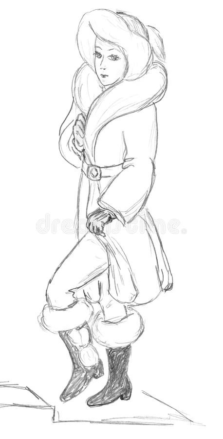 Fashionable Women Sketch Royalty Free Stock Image