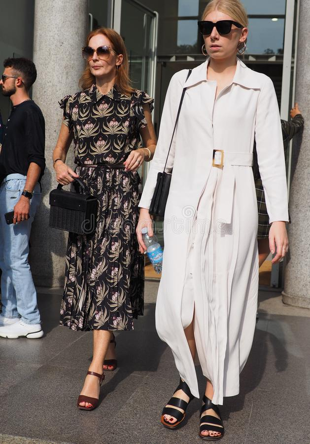 MILAN, Italy: September 22, 2018: Fashionable womwn street style outfit. Fashionable women street style outfit after Philosophy di Lorenzo Serafini fashion show stock photography