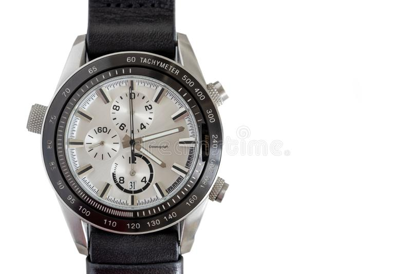 Fashionable wrist watch on a white background stock images