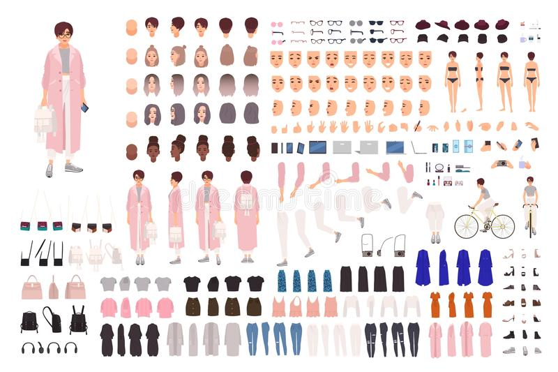 Fashionable young girl creation set or DIY kit. Collection of body parts, trendy clothes, stylish accessories, faces stock illustration