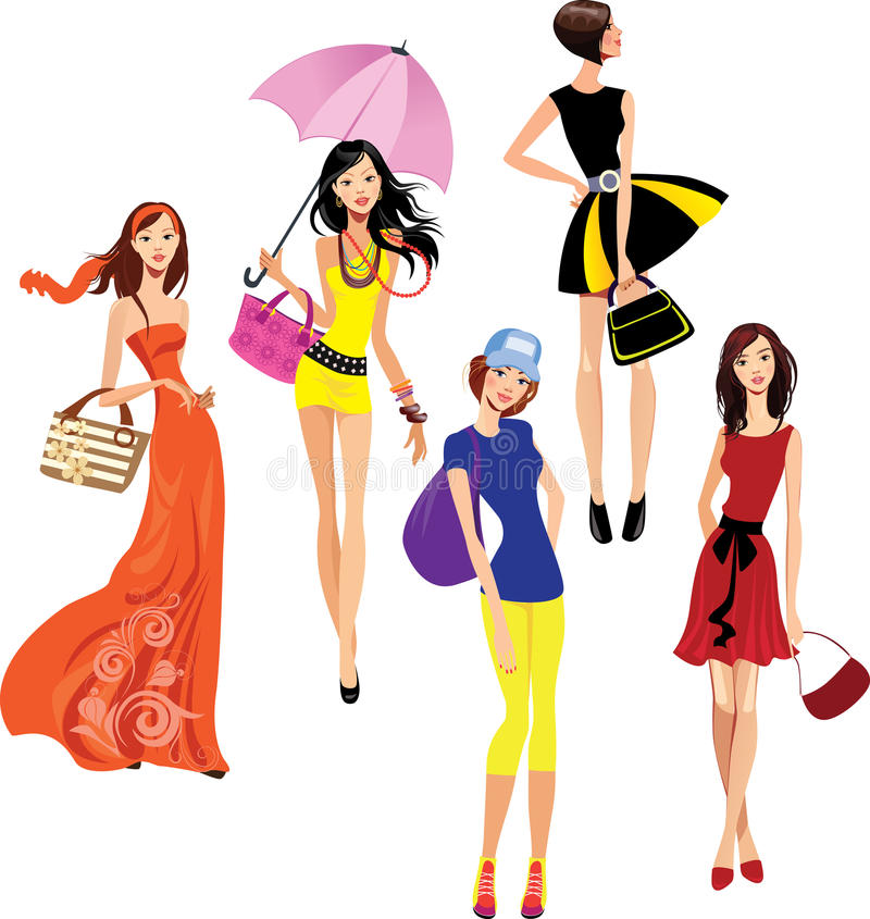 Fashionable young girls vector illustration