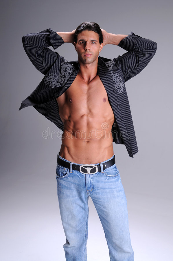 Download Fashionable Young Man stock photo. Image of bare, unbuttoned - 6420640