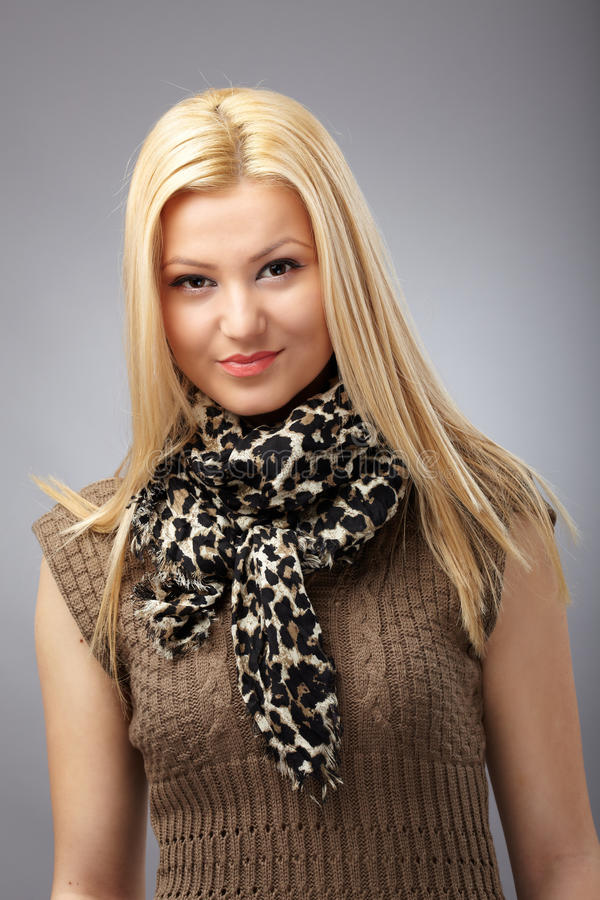 Download Fashionable Young Woman With Scarf Stock Photo - Image: 25092144