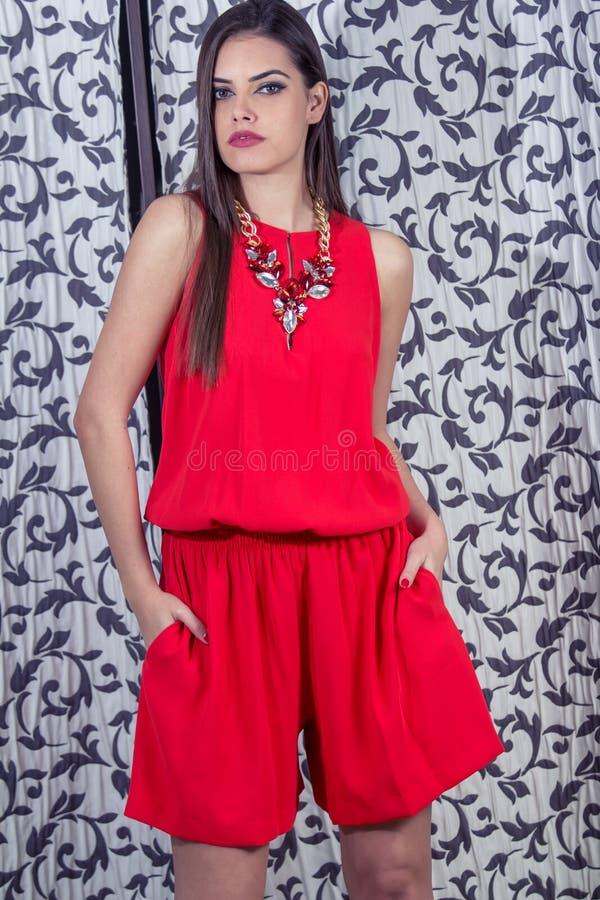 Fashionably geklede vrouw stock afbeelding