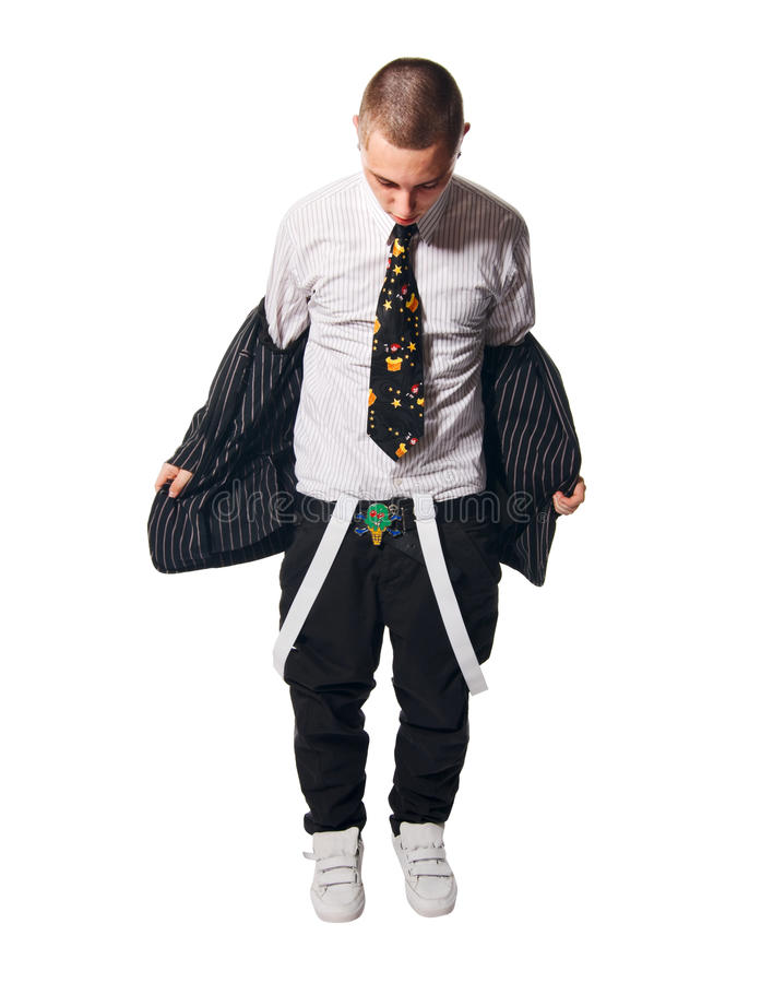 Fashionate Hip-hop Young Man On White Stock Photography