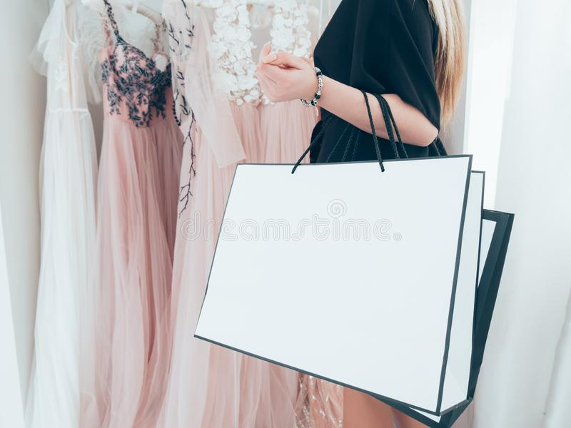 Fashionista lifestyle woman evening gown boutique royalty free stock photos