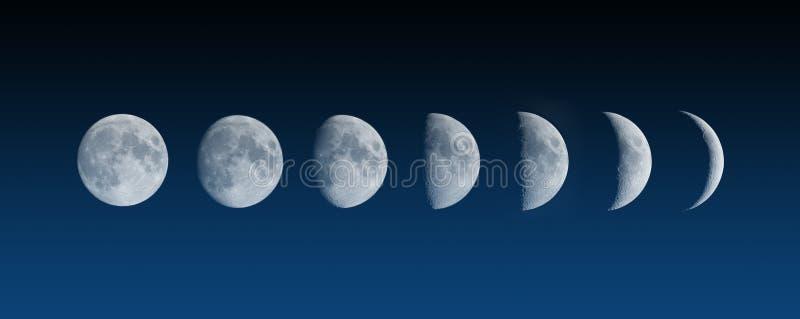 Fasi cambianti della luna immagine stock
