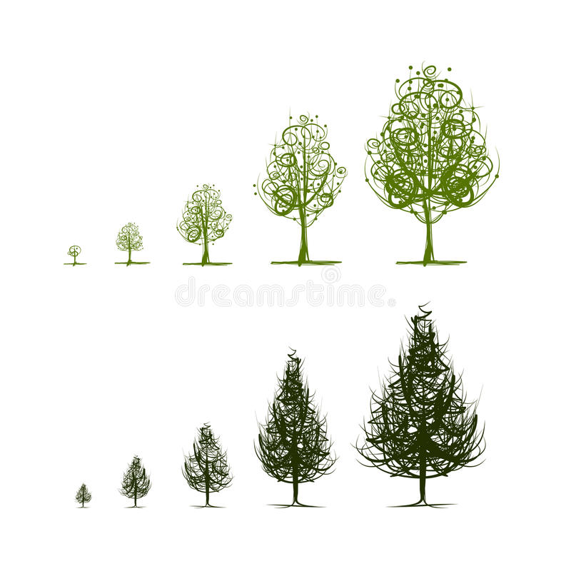 Fasi dell'albero crescente per la vostra progettazione illustrazione vettoriale