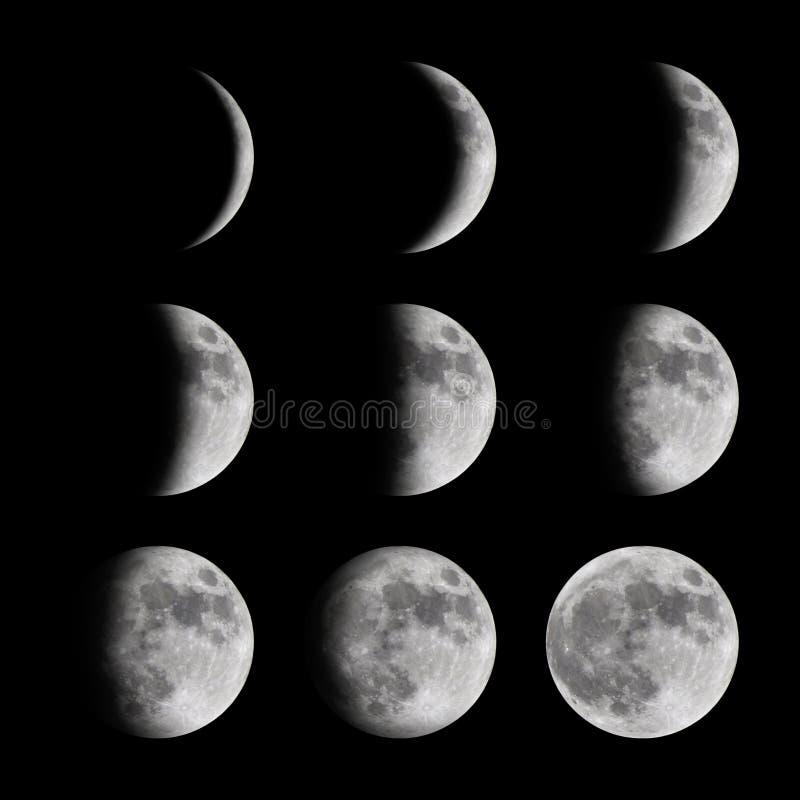 Fasi della luna da nuovo ad in pieno immagine stock