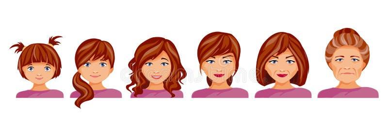 Fasi di età di una donna illustrazione di stock