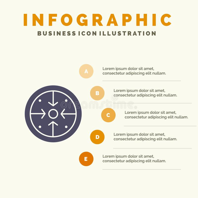 Fasi, scopi, implementazione, operazione, fondo solido di presentazione di punti di Infographics 5 dell'icona di processo royalty illustrazione gratis