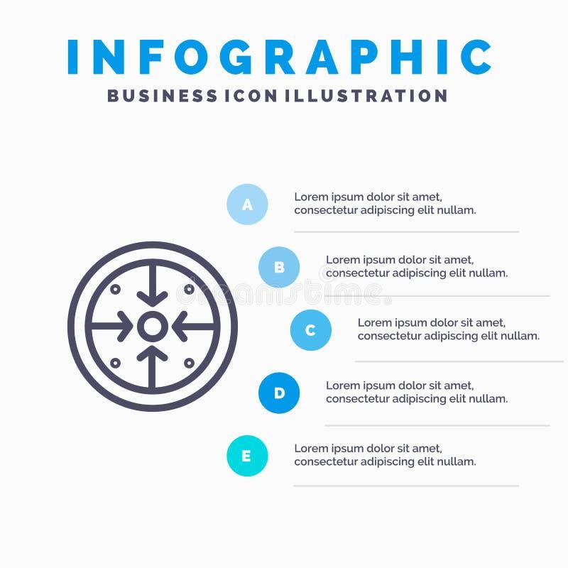 Fasi, scopi, implementazione, operazione, icona della linea di trattamento con il fondo di infographics di presentazione di 5 pun illustrazione vettoriale