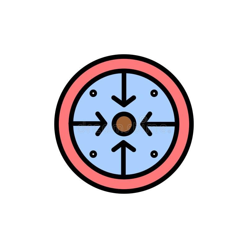 Fasi, scopi, implementazione, operazione, icona piana trattata di colore Modello dell'insegna dell'icona di vettore illustrazione di stock