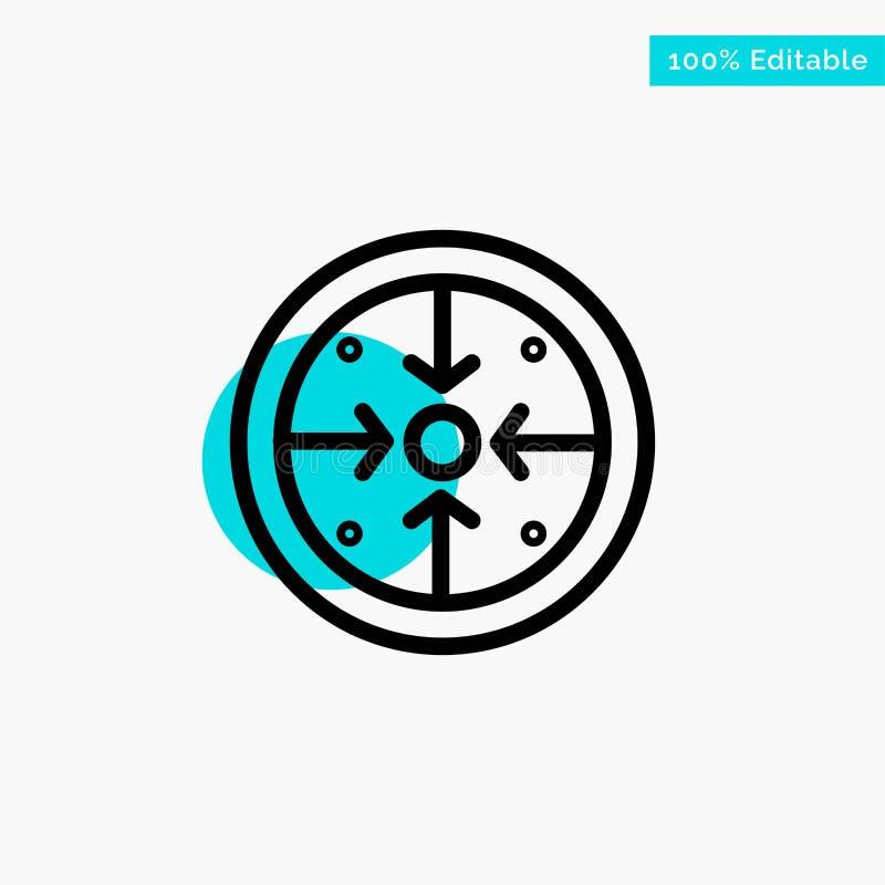 Fasi, scopi, implementazione, operazione, icona trattata di vettore del punto del cerchio di punto culminante del turchese illustrazione vettoriale