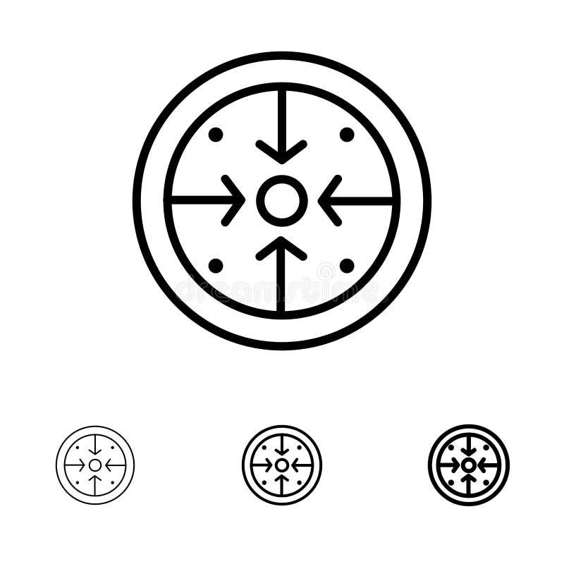 Fasi, scopi, implementazione, operazione, linea nera audace e sottile trattata insieme dell'icona illustrazione di stock