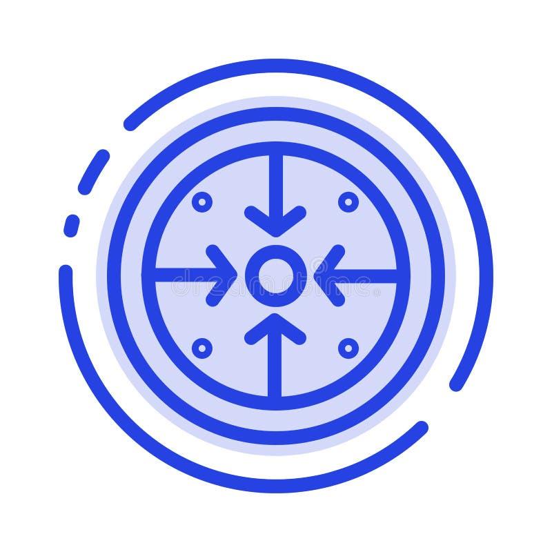 Fasi, scopi, implementazione, operazione, linea punteggiata blu linea icona di processo illustrazione di stock