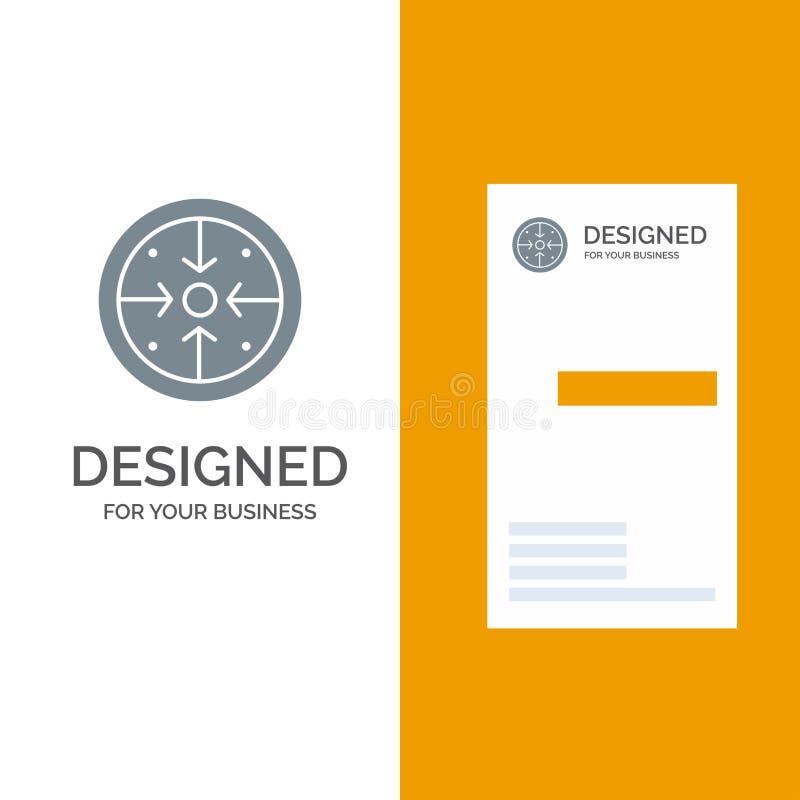 Fasi, scopi, implementazione, operazione, processo Grey Logo Design e modello del biglietto da visita royalty illustrazione gratis