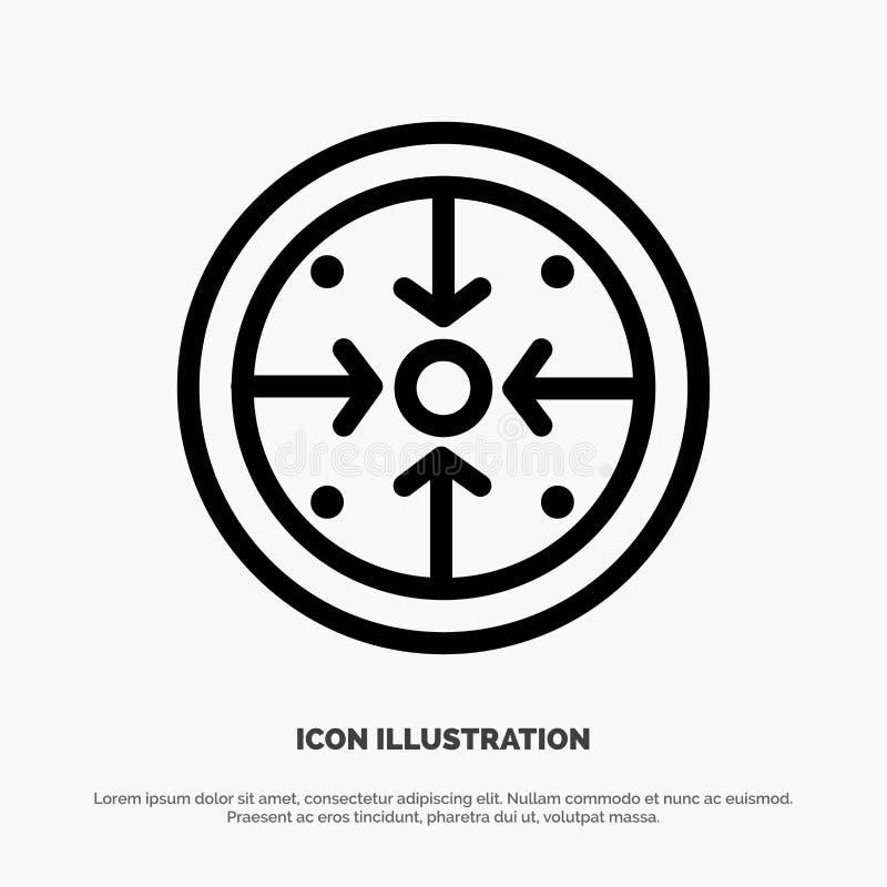 Fasi, scopi, implementazione, operazione, vettore dell'icona della linea di trattamento illustrazione vettoriale