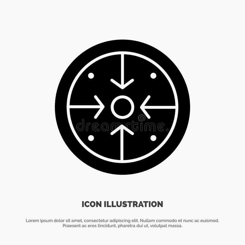 Fasi, scopi, implementazione, operazione, vettore solido dell'icona di glifo di processo illustrazione vettoriale