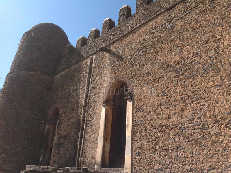 Fasil Castle Gondar Ethiopia. In the 16th and 17th centuries, the fortress-city of Fasil Ghebbi was the residence of the Ethiopian emperor Fasilides and his royalty free stock photography
