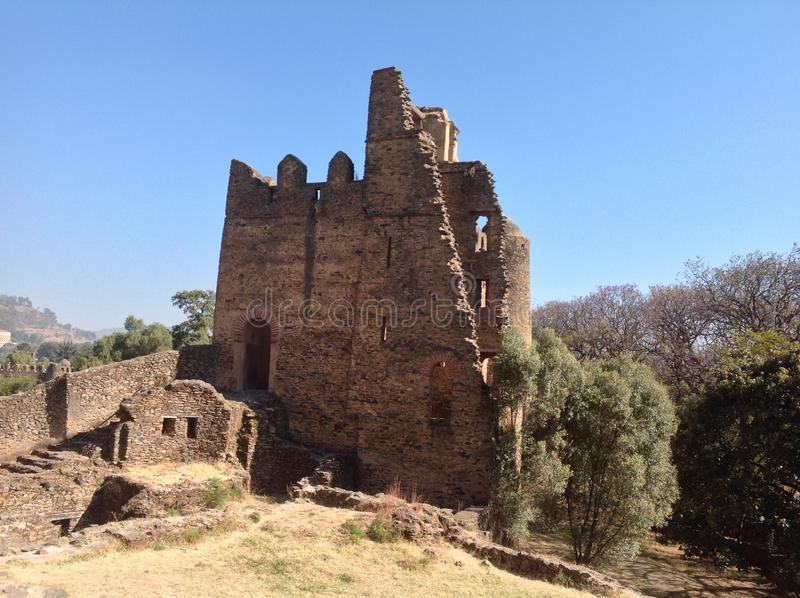 Fasil Castle Gondar Ethiopia. In the 16th and 17th centuries, the fortress-city of Fasil Ghebbi was the residence of the Ethiopian emperor Fasilides and his stock photos